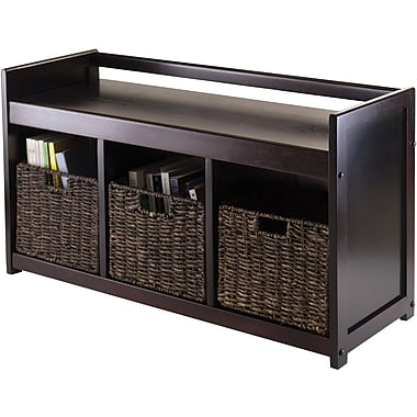 Winsome Addison Wood 4-Pc Storage Bench With 3 Foldable Corn Husk Baskets, Espresso