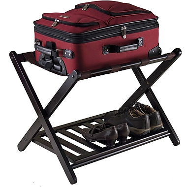 Winsome Reese Wood Foldable Luggage Rack With Shelf, Dark Espresso