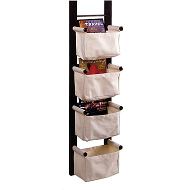 Winsome Solid/Composite Wood Storage/Magazine Rack With 4 Canvas Baskets, Dark Espresso