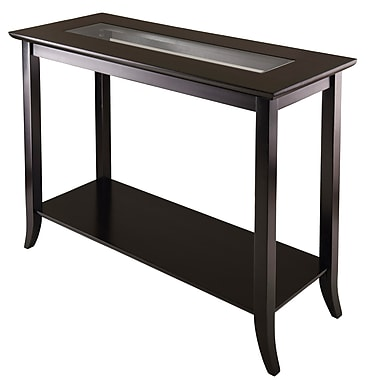 Winsome Genoa 29.92in. x 40in. x 16.34in. Wood Console Table With Glass and Shelf, Dark Brown