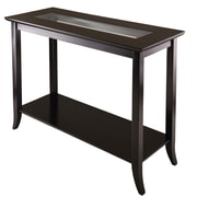"Winsome Genoa 29.92"" x 40"" x 16.34"" Wood Console Table With Glass and Shelf, Dark Brown"
