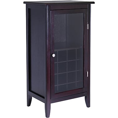 Winsome Ryan 40.2in. x 21.89in. x 15.83in. One Door 16-Bottle Wine Cabinet With Glass Rack, Dark Espresso