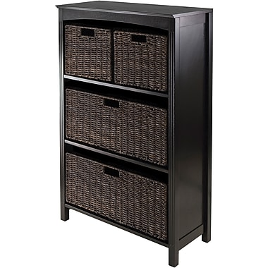 Winsome Terrace Solid Wood 4 Tier Storage Shelf With 4 Foldable Baskets, Dark Espresso