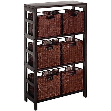Winsome Leo Wood 7-Pc Storage Shelf With 6 Rattan Baskets, Espresso