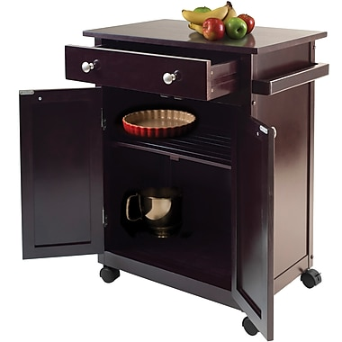 Winsome Savannah 26.89in. Wood Kitchen Cart With 1-Drawer, Dark Espresso