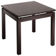 "Winsome Linea 21 1/4"" x 23.6"" x 23.6"" Wood End Table With Chrome Accent, Dark Espresso"