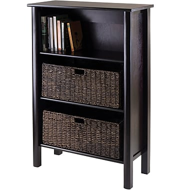 Winsome Liso Wood 3-Pc Storage Shelf With 2 Large Foldable Corn Husk Baskets, Dark Espresso