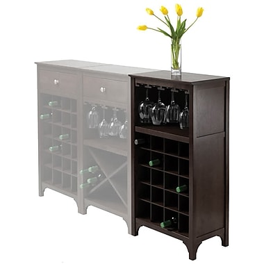 Winsome Ancona 37.52in. x 19.09in. x 12.6in. 20-Bottle Modular Wine Cabinet With Glass Rack, Dark Espresso
