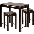 Winsome Linea 34in. x 35 1/2in. x 23 1/2in. Wood Pub Kitchen Island Table With 2 Stool, Dark Espresso