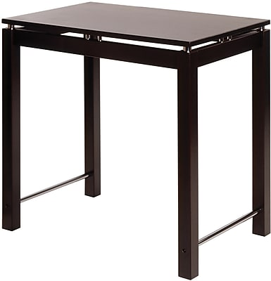 Winsome Linea Wood Kitchen Island Table With Chrome Accent, Dark Espresso 55706