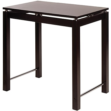Winsome Linea Wood Kitchen Island Table With Chrome Accent, Dark Espresso