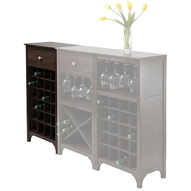 Winsome Ancona 37.04in. x 19.09in. x 12.6in. 24-Bottle Modular Wine Cabinet With 1-Drawer, Dark Espresso