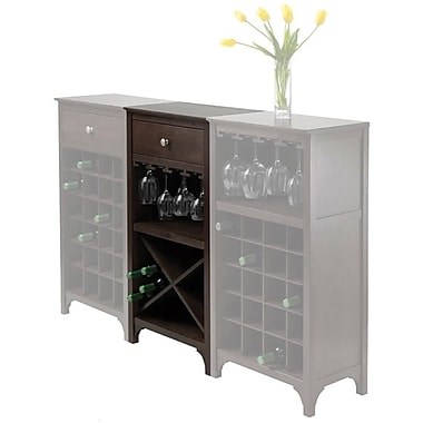 Winsome Ancona X Shelf Modular Wine Cabinet With 1-Drawer, Glass Rack, Dark Espresso