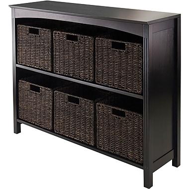 Winsome Solid/Composite Wood 7-Pc Storage 3-Tier Shelf With 6 Corn Husk Baskets, Dark Espresso