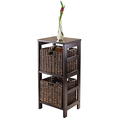 Winsome Granville Wood 3-Pc Storage Shelf With 2 Foldable Corn Husk Baskets, Espresso