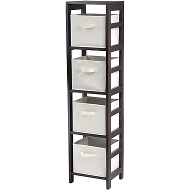 Winsome Capri Wood 4-Section N Storage Shelf With 4 Foldable Fabric Baskets, Espresso/Beige