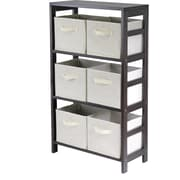 Winsome Capri Wood 3-Section M Storage Shelf With 6 Foldable Fabric Baskets, Espresso/Beige