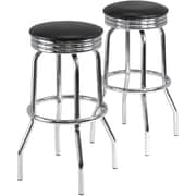 Winsome Summit Faux Leather Swivel Bar Stool, Black