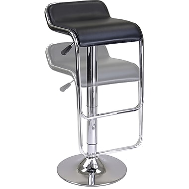 Winsome Oslo Faux Leather Backless Air Lift Stool, Black