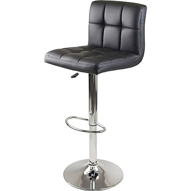 Winsome Stockholm Square Grid Faux Leather Air Lift Stool, Black