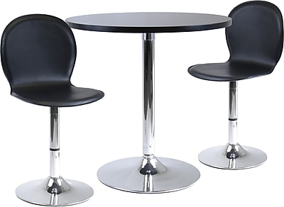 """""Winsome Spectrum 29 1/2"""""""" x 28.74"""""""" x 28.74"""""""" MDF Round Dinning Table With 2 Swivel Chair, Black"""""" 55741"