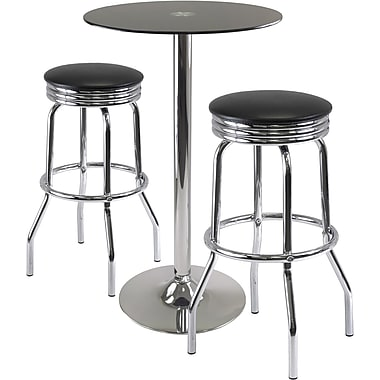 Winsome Rossi 3 Piece Pub Table With Swivel Stools, Black