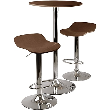 Winsome Kallie 39.76in. x 23.66in. x 23.66in. Wood Round Pub Table With 2 Air Lift Stool, Cappuccino