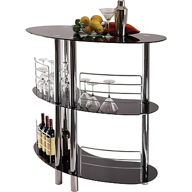 Winsome Martini 41.85in. x 47.05in. x 22.64in. Glass Entertainment Bar, Black
