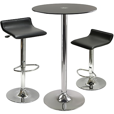Winsome Rossi 39.13in. x 23.62in. x 23.62in. Glass Round Pub Table With 2 Air Lift Adjustable Stool, Black