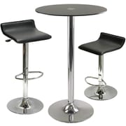 Winsome Rossi 39.13 x 23.62 x 23.62 Glass Round Pub Table With 2 Air Lift Adjustable Stool, Black