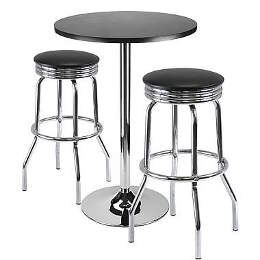 Winsome Summit 39.76in. x 23.66in. x 23.66in. Round Bar Table With 2 Swivel Stool, Black