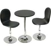 "Winsome Spectrum 29 1/2"" x 19.7"" x 19.7"" MDF Round Table With 2 Swivel Faux Leather Chair, Black"