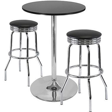 Winsome Summit 40.16in. x 28.74in. x 28.74in. Round Pub Table With 2 Swivel Stool, Black