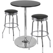 "Winsome Summit 40.16"" x 28.74"" x 28.74"" Round Pub Table With 2 Swivel Stool, Black"