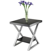 Winsome Korsa 22.17 x 20 x 20 Wood End Table With Metal X Legs, Black