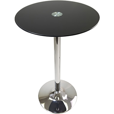 Winsome Rossi 39.13in. x 23.62in. x 23.62in. Glass Round Pub Table, Black