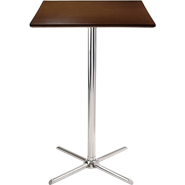 Winsome Kallie 40.35in. x 23.62in. x 23.62in. Wood Square X Base Pub Table, Cappuccino