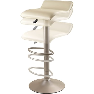 Winsome Faux Leather Swivel Air Lift Stool, Beige