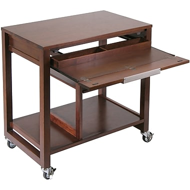 Winsome Composite Wood Computer Desk With Casters, Antique Walnut