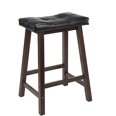 Winsome Mona 24in. Faux Leather Cushion Saddle Seat Stool, Black