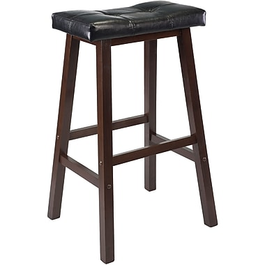 Winsome Mona 29in. Faux Leather Cushion Saddle Seat Stool, Black