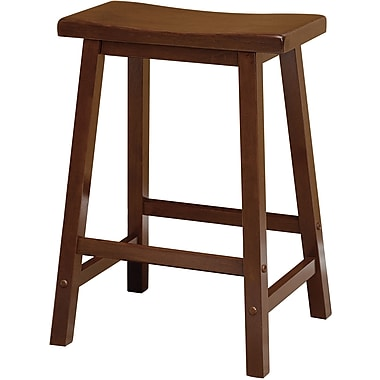 Winsome 24in. Beech Wood Saddle Seat Bar Stool, Antique Walnut