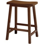 "Winsome 24"" Beech Wood Saddle Seat Bar Stool, Antique Walnut"