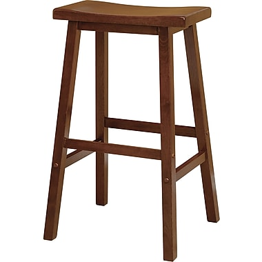 Winsome 29in. Beech Wood Saddle Seat Bar Stool, Antique Walnut