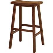 "Winsome 29"" Beech Wood Saddle Seat Bar Stool, Antique Walnut"