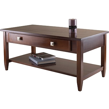 Winsome Richmond 20.53in. x 40in. x 18.11in. Wood Coffee Table Tapered Leg, Brown