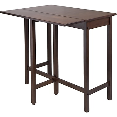 Winsome Lynnwood 35.43in. x 39.39in. x 30in. Wood Rectangular Drop Leaf High Table, Antique Walnut