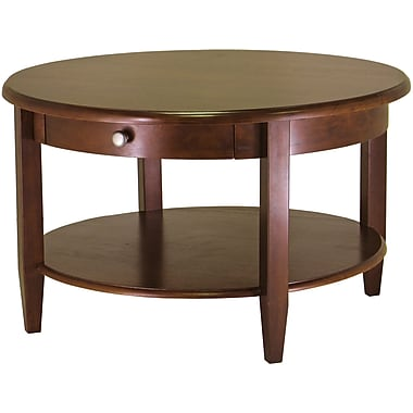 Winsome 18in. x 30in. x 30in. Concord Wood Round Coffee Table, Antique Walnut