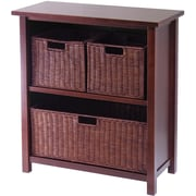 Winsome Milan Wood 4-Pc 3-Tier Cabinet/Shelf With 3 Rattan Baskets, Antique Walnut