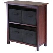 Winsome Verona Wood 2-Section M Storage Shelf With 4 Foldable Fabric Baskets, Walnut/Black